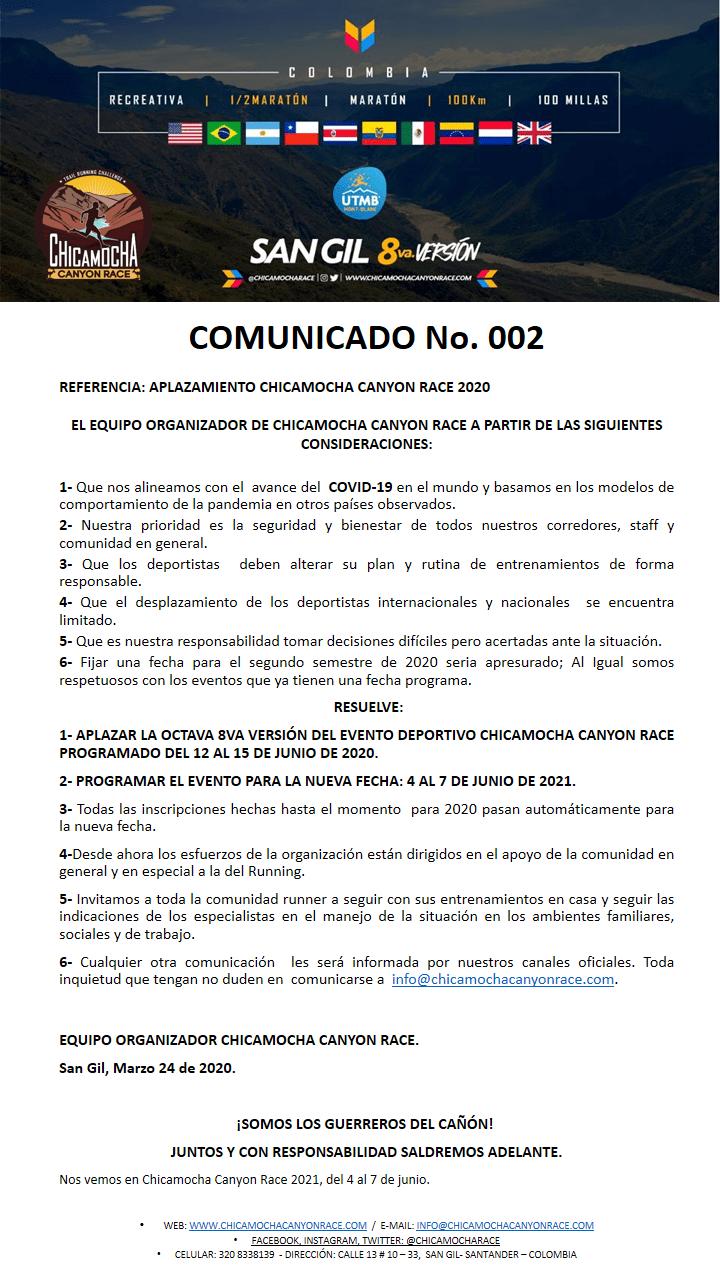 COMUNICADOS 002 COVI19 - CCR2020